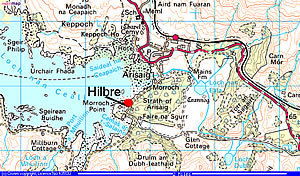 Position of Hilbre Bed and Breakfast from Arisaig on the Road to the Isles